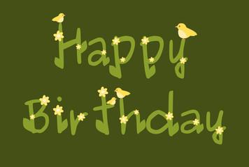 happy birthday daisy flowers green card