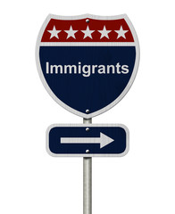 Immigrants this way sign