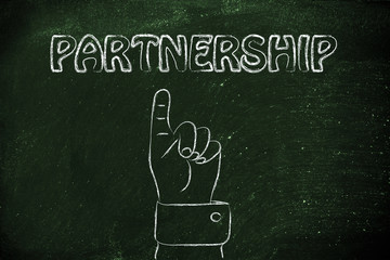 hand pointing at the writing Partnership
