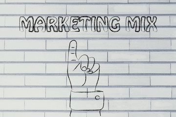 hand pointing at the writing marketing mix