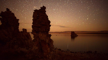 Tufa Formation on Scenic Mono Lake California at Sunrise - Time Lapse