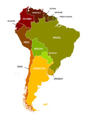 South America Map Colored Countries Shapes