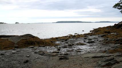 Maine USA Scenic View of the Seashore Overcast day