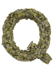 Destroyed letter of small pieces of stone covered with moss.