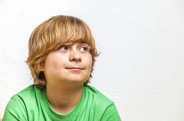 cute boy in green shirt