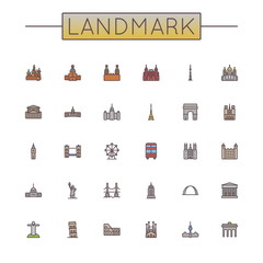 Vector Colored Landmark Line Icons