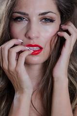 Greek brunette woman with green eyes in face shoot
