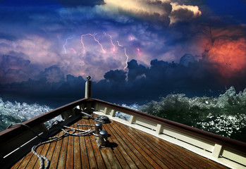Ship in a stormy sea
