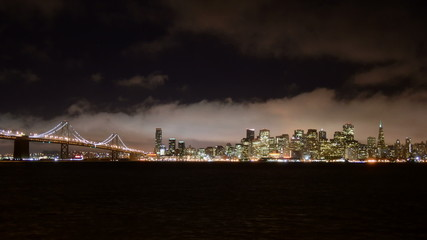 Time Lapse View of the Foggy San Francisco Skyline at Night