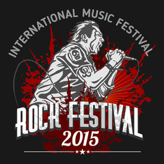 Rock star with microphone on grunge background - rock festival