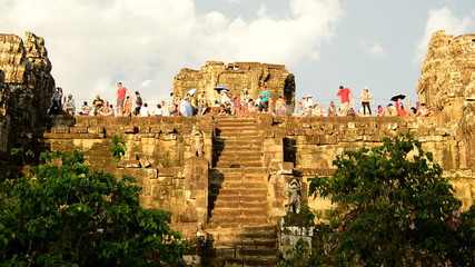 Time Lapse - Tourists on top of Ancient Temple Waiting for the Sunset - Angkor Wat, Cambodia