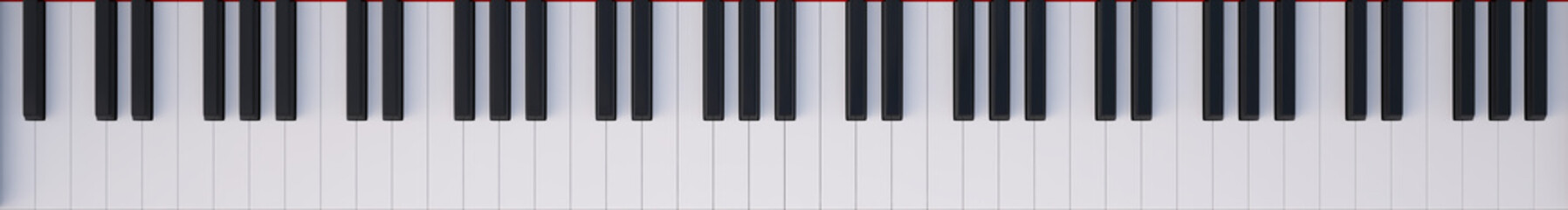 Keyboard Piano top view. 3d illustration high resolution