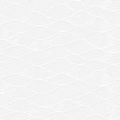 Abstract white paper lace texture, seamless pattern with waves