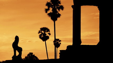 Zoom Out - Silhouette of Main Temple Entrance at Sunrise - Angkor Wat, Cambodia