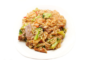 Beef & Broccoli with Brown Rice on a White Plate