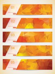 Abstract geometric triangular banners set