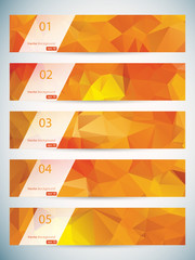 Abstract geometric triangular banners set