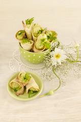 Savory cannoli stuffed with ricotta