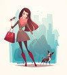 Pretty girl walking a dog. Vector illustration