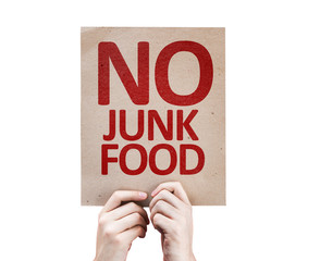 No Junk Food card isolated on white background