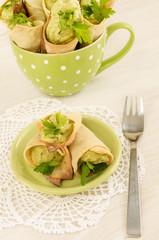 Savory cannoli stuffed with ricotta, peas and parsley.