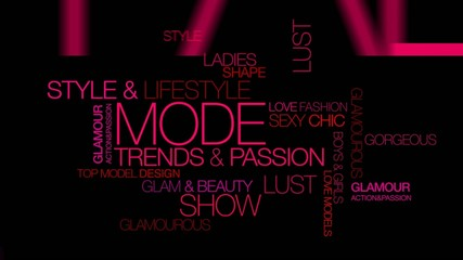 Mode fashion shopping background pink words tag cloud animation