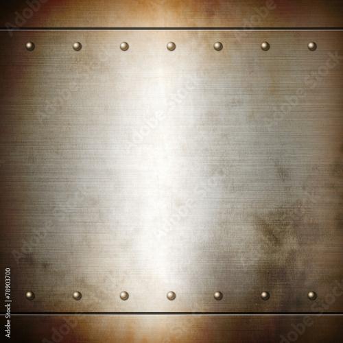 Foto op Plexiglas Metal Rusty steel riveted brushed plate texture
