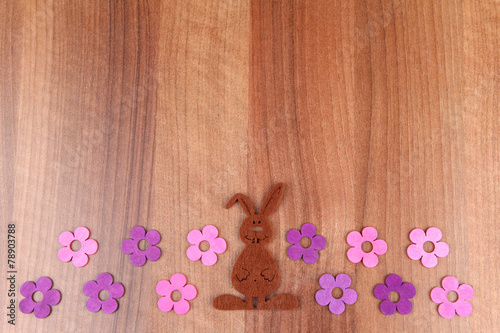 canvas print picture Holzbrett Blumen Hase