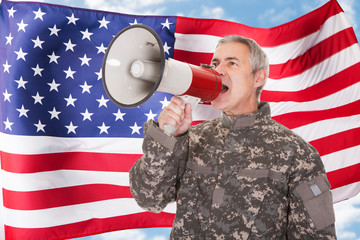 American Soldier Shouting Through Megaphone