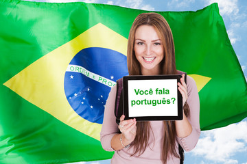 Brazilian Woman Asking Do You Speak Portuguese