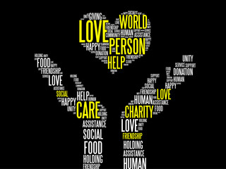 Love, Charity, Donation Vector Concept word cloud