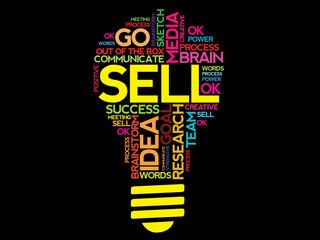 SELL word cloud bulb vector concept