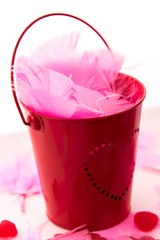 Valentines Day - decorations, pink feathers and heart shaped can