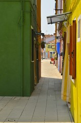 Colorful Burano alley, Italy