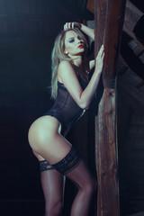 Sexy blonde woman in black underwear posing in barn