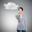 Beautiful woman throws a kiss, grey background with cloud