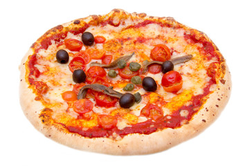 Pizza with anchovies and olives on white background