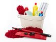 Leinwandbild Motiv Reinigungsmittel, Putzeimer und Wischmopp