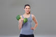 Arm exercise with broccoli dumbbell
