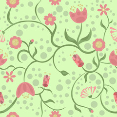 Spring and different pink flowers on a green background