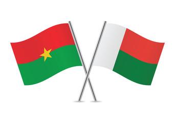 Burkina Faso and Madagascar flags. Vector illustration.