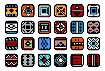 Icons with native american ornaments