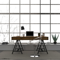 The stylish interior of a home office with a transparent chair