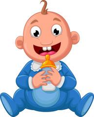 baby boy cartoon holding a bottle of milk