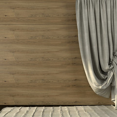 Beautiful curtains made of linen on the background of wooden wal