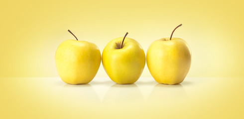 yellow  apples isolated on a colored backgroun