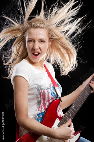 Poster Woman Playing the Guitar