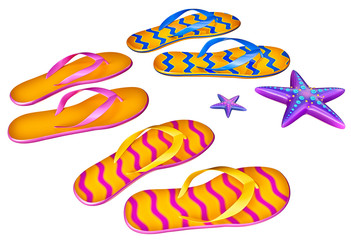 Set of shoes flip-flops with two starfish