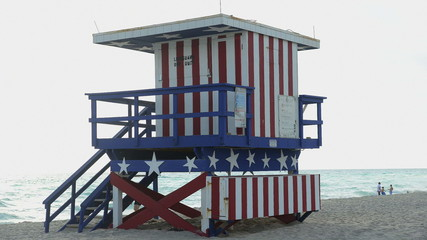 Time Lapse of Life Guard stand on Miami Beach