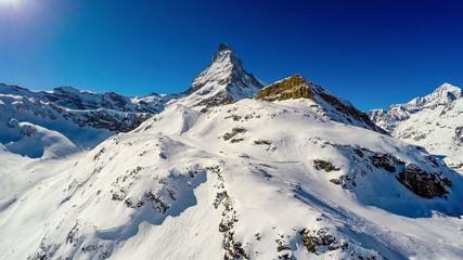 Zermatt, Matterhorn,  Swiss Alps - aerial view